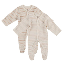 Pack of 2 - Neutral Stripe Organic Sleepsuits