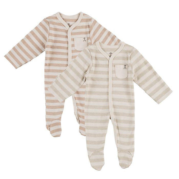 Pack of 2 - Wide Stripe Organic Sleepsuits