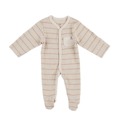 Thick Neutral Stripe Organic Sleepsuit