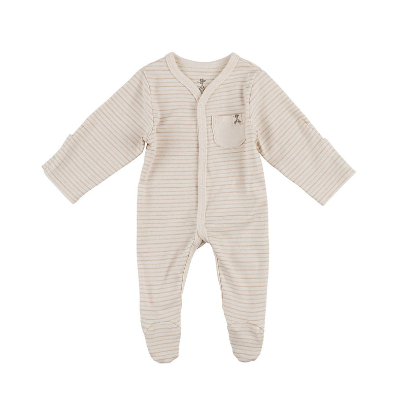 Thin Neutral Stripe Organic Sleepsuit