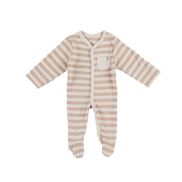 Wide Brown Stripe Organic Sleepsuit