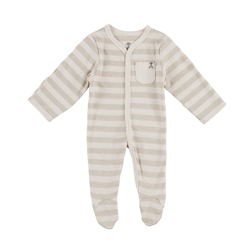 Wide Green Stripe Organic Sleepsuit