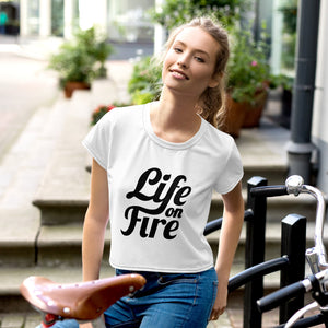 Life on Fire All-Over Print Crop Tee