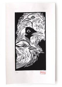 wood cut printmaking art poster