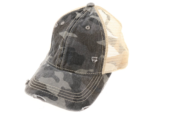 Camouflage Mesh Back High Pony Cap- Grey