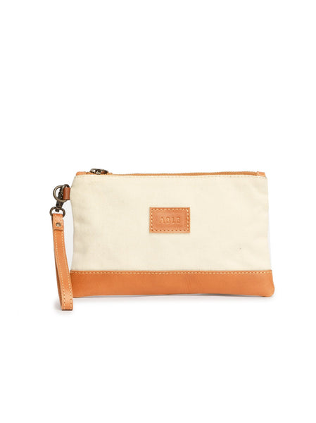 Abera Canvas Wristlet - Natural Cognac