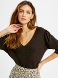 Della Sweater Top - Black