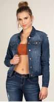 Distressed Women's Denim Jacket