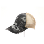Distressed Camo Crisscross Ball Cap