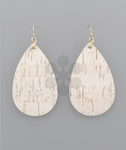 White/Gold Cork Teardrop Earrings