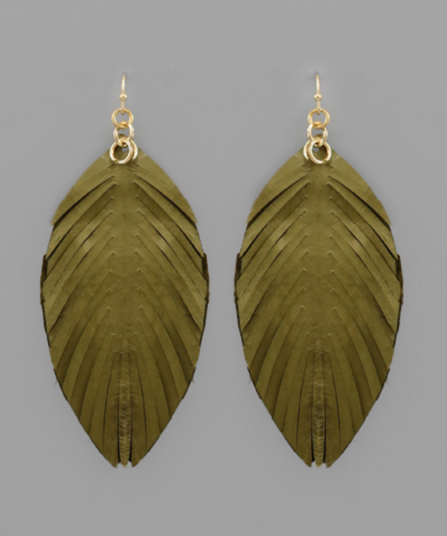 Olive Leather Feather Earrings