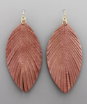 Mauve Leather Feather Earrings