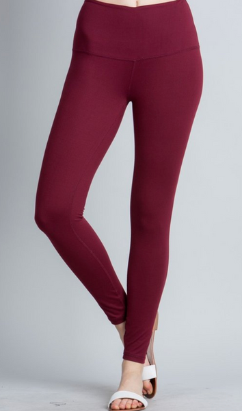 Humble Leggings-Burgundy