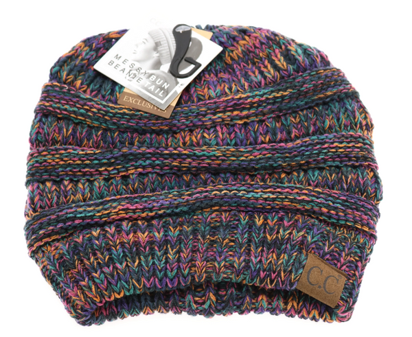 CC Messy Bun Beanie - Black Multi