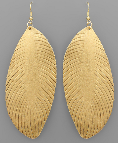 Monet Leather Earrings - Gold