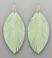 Mint Leather Feather Earrings
