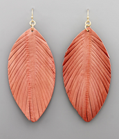 Coral Leather Feather Earrings