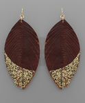 Gold Dipped Leather Earrings - Brown