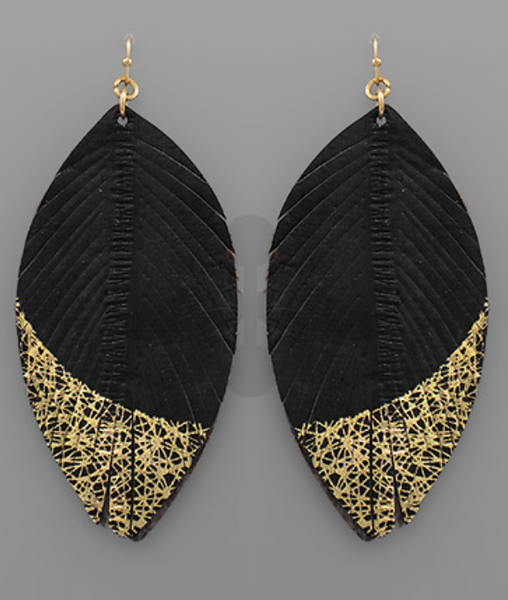 Gold Dipped Leather Earrings - Black
