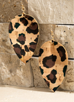 Cork Teardrop Earrings - Leopard