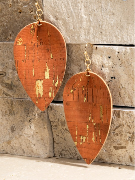Cork Teardrop Earrings - Rust