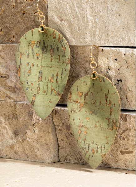 Cork Teardrop Earrings - Mint