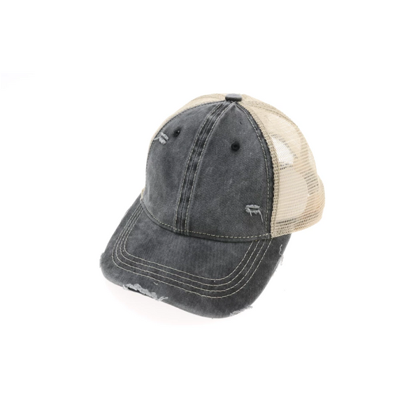 Washed Mesh Back Classic Ballcap - Black