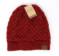 Basket Weaved CC Beanie - Burgundy