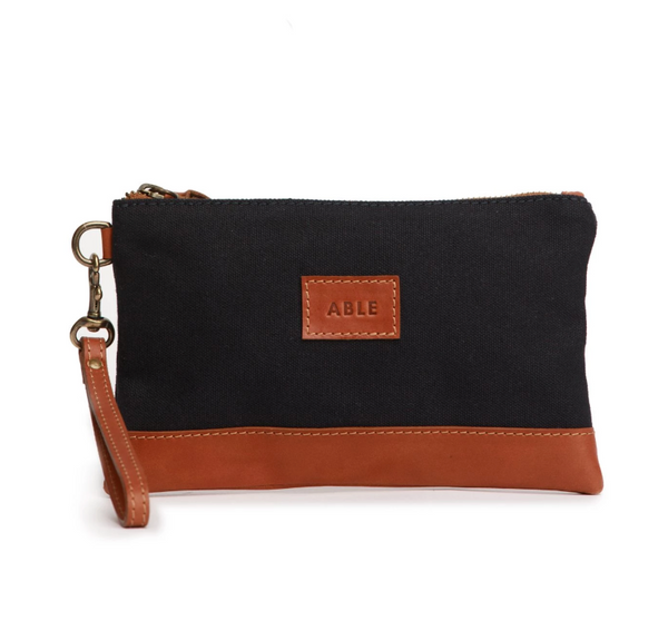 Abera Canvas Wristlet - Navy/Chestnut