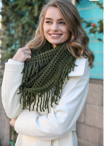 Lattice Knit Fringe Scarf