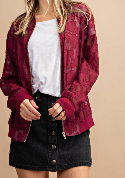 Lyric Bomber Jacket - Wine