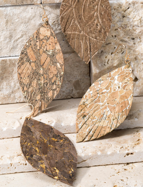 Cork Leaf Earrings