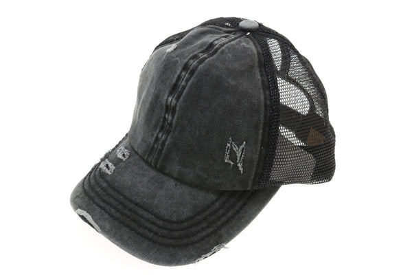 Distressed High Pony Ball Cap- Black