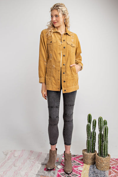 Cord Distressed Jacket - Camel