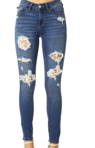 Lace Patch Skinny Denim