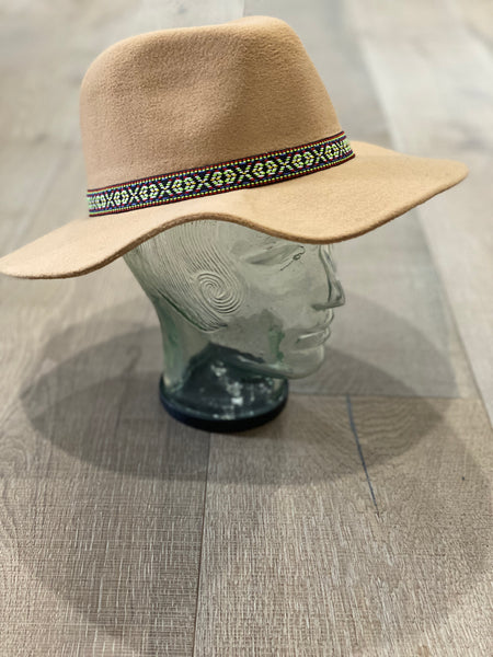 Tribal Wool Hat - Camel