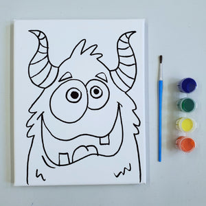 Take Home Kit: Pre- Drawn Monster Canvas Painting