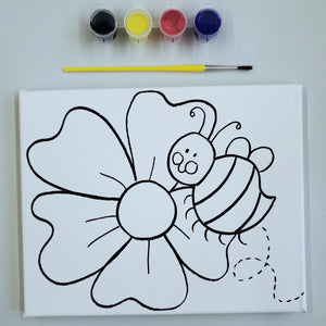 Take Home Kit: Pre- Drawn Flower & Bee Canvas Painting