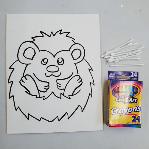 Take Home Kit: Hedgehog Encaustic Crayon Painting
