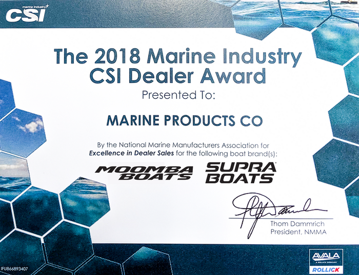 Marine Products Receives The 2018 CSI Dealer Award For Sales and Service