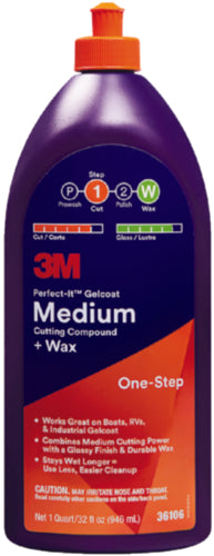 3M Perfect-It Gelcoat Medium Cutting Compound/Wax 32oz 36106