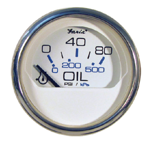 "Faria Chesapeake White S/S Oil Pressure 2"" 80psi 13802"