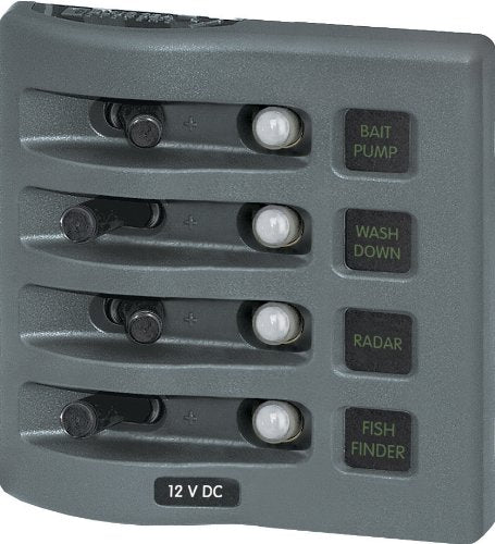 Blue Sea Water Resistant Circuit Breaker Panel 4 Switch 4374
