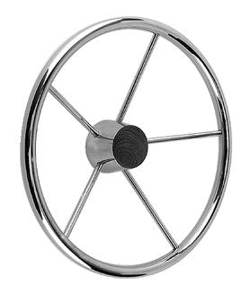 "Seachoice Destroyer Steering Wheel w/Teak Cap 15"" S/S 50-28551"