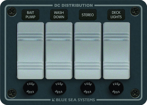 Blue Sea Contura Fuse Panel 4 Switch 8262
