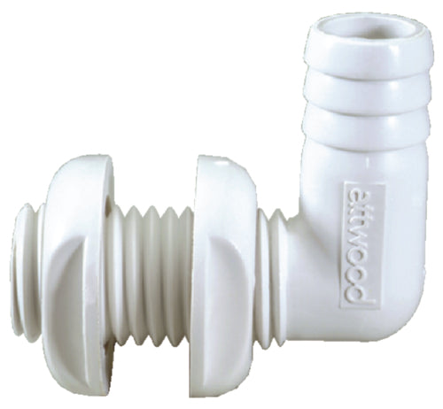 "Attwood Thru-Hull Connector 90' 1-1/8"" White 3879-3"