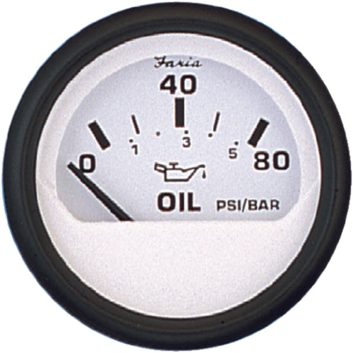 "Faria Euro White Oil Pressure 2"" 80psi 12902"