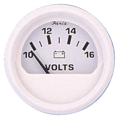 "Faria Dress White Voltmeter 2"" 10-16v 13120"