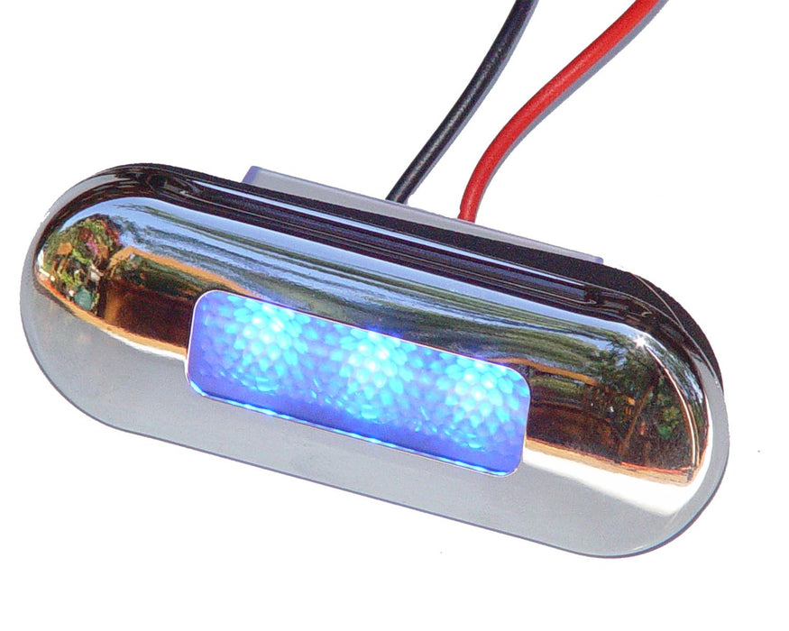 Aqua Signal Santiago 3-LED Courtesy Light Oval S/S Blue 16421-7