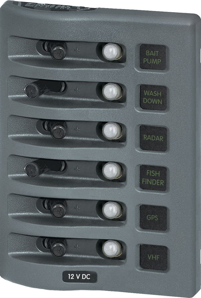 Blue Sea Water Resistant Circuit Breaker Panel 6 Switch 4376